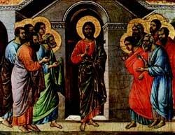 Chrystus ukazuje się apostołom, przechodząc przez zamknięte drzwi